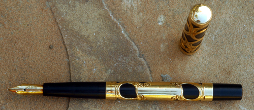 EDISON GOLD FILLED FILIGREE FOUNTAIN PEN